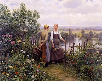 Maria and Madeleine on the Terrace by Daniel Ridgway Knight