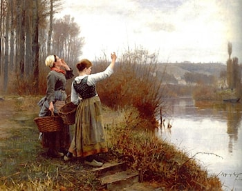 Hailing the Ferry by Daniel Ridgway Knight