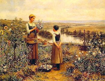 Picking Flowers by Daniel Ridgway Knight
