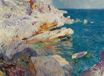 Rocks at Jávea and the White Boat by Joaquin Sorolla y Bastida