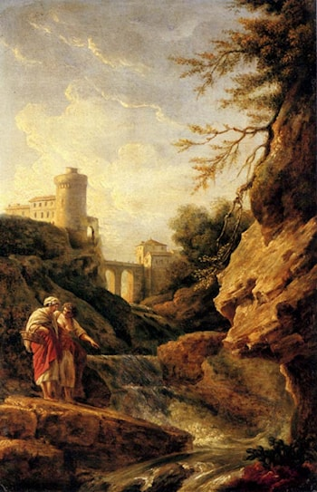 Two female peasants by a waterfall, a town and aqueduct beyond by Claude-Joseph Vernet