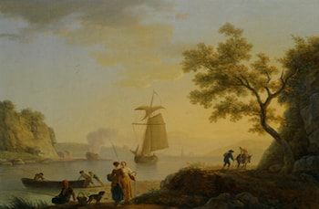 An Extensive Coastal Landscape with Fishermen Unloading their Boats and Figures Conversing in the Foreground by Claude-Joseph Vernet