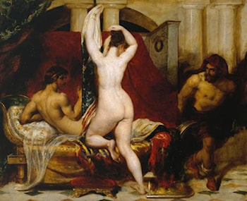 Candaules, King of Lydia, Shews his Wife by Stealth to Gyges, One of his Ministers, as She Goes to Bed by William Etty