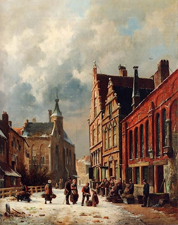 A View In A Town In Winter by Adrianus Eversen