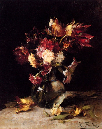 Still Life Of Tulips And Carnations In A Vase by Hubert Bellis