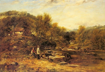 Anglers by a Stream by Frederick William Watts