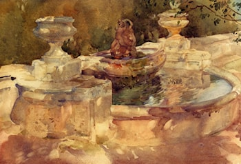 A Fountain At Frascati by Sir William Russell Flint