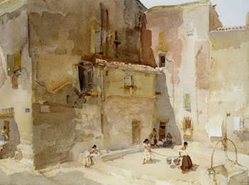 A Sunlit Square Languedoc by Sir William Russell Flint
