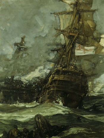 The Brunswick Caught Anchors with her Enemy by Sir Frank Brangwyn, R.A.
