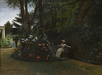 Elegant Figures in a Flower Garden by Louis Robert Carrier-Belleuse