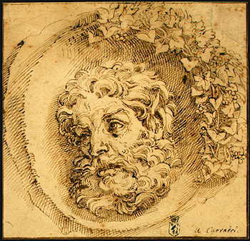 Head of a Faun in a Concave (roundel) by Agostino Carracci