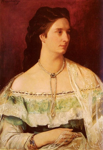 Portrait Of A Lady Wearing A Pearl Necklace by Anselm Friedrich Feuerbach