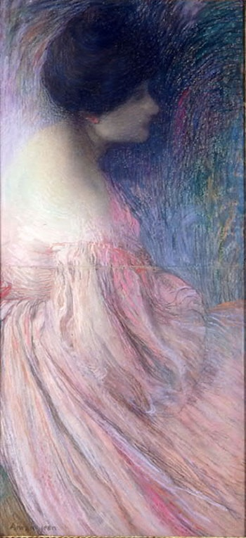 Femme en robe rose by Edmond Aman-Jean
