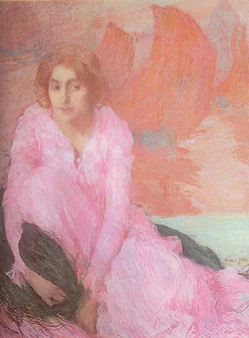 Dame en Rose by Edmond Aman-Jean