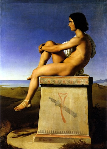 Polites, Son of Priam, Observes the Movements of the Greeks by Jean Hippolyte Flandrin