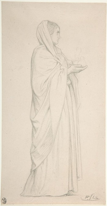 Standing Female Saint by Jean Hippolyte Flandrin