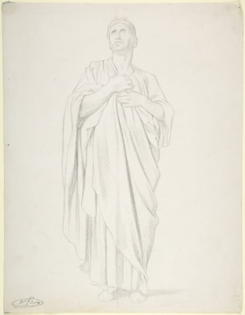 Study of an Apostle, for the painting of the Ascension in Saint-Germain-des-Pres, Paris (1839-1863) by Jean Hippolyte Flandrin