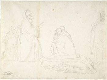Miracle of St. Sylvester; the Raising of Two Pagan Priests, after Maso di Banco, S. Croce, Florence by Jean Hippolyte Flandrin