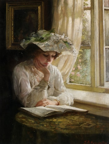 Lady Ready by a Window by Thomas Benjamin Kennington