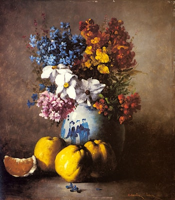 A Still Life with a Vase of Flowers and Fruit by Germain Theodure Clement Ribot