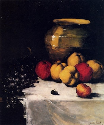 A Still Life With Apples And Grapes by Germain Theodure Clement Ribot