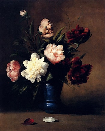 Peonies In A Blue Vase by Germain Theodure Clement Ribot