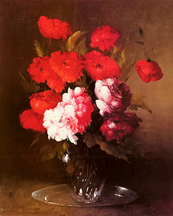 Pink Peonies and Poppies in a Glass Vase by Germain Theodure Clement Ribot