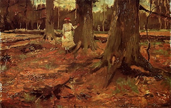 A Girl in White in the Woods by Vincent van Gogh