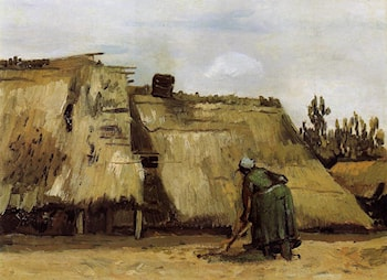 Cottage with Woman Digging by Vincent van Gogh