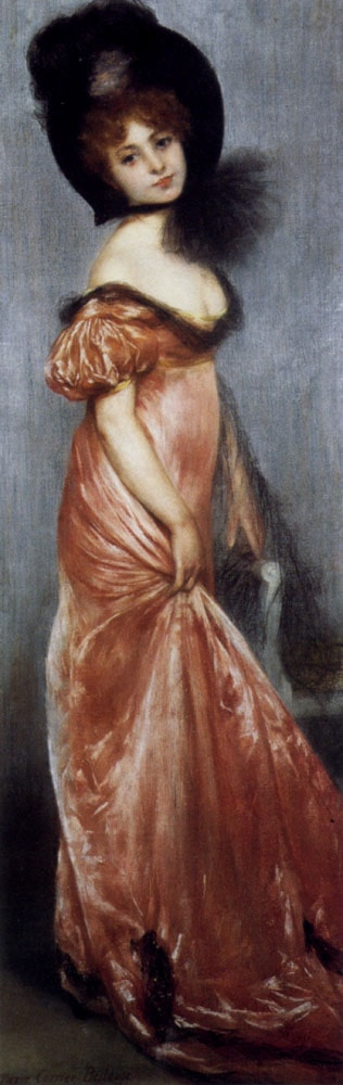 Young Girl In A Pink Dress by Pierre Carrier-Belleuse