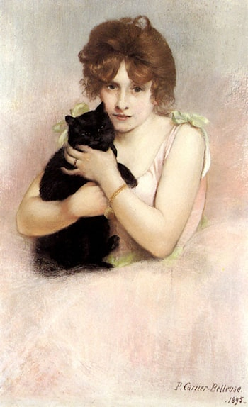 Young Ballerina holding a Black Cat by Pierre Carrier-Belleuse