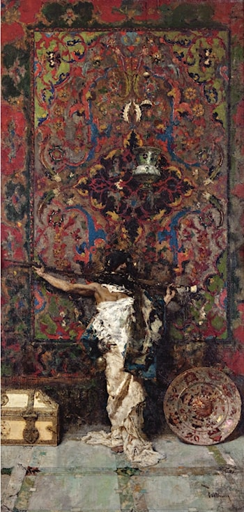 Arab before Tapestry by Mariano Jose Maria Bernardo Fortuny y Carbo