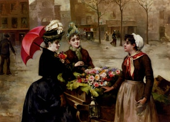 The Flower Seller by Maximino Pena Munoz