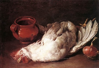 Still­Life with Hen, Onion and Pot by Giacomo Ceruti