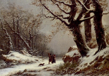 Travellers In Winter Woodland by Charles Joseph Lecointe