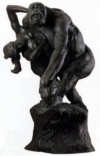 Gorilla carrying off a Woman by Emmanuel Fremiet