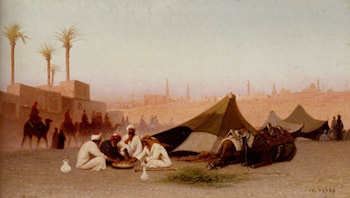 A late afternoon meal at an encampment, Cairo by Charles Theodore Frere