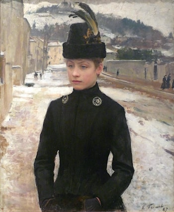 Young Woman of Nancy in a Winter Landscape by Emile Friant