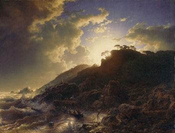 Sunset after a Storm on the Coast of Sicily by Andreas Achenbach