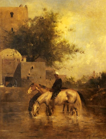 Horses Watering in a River by Eugene Fromentin