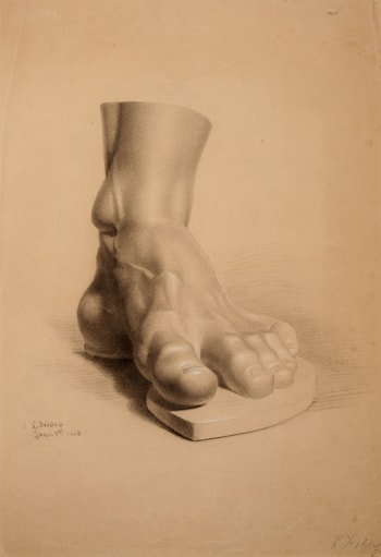 Study of a plaster cast of a sculptural fragment by Luke Fildes