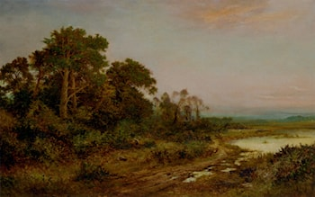 A Wooded Landscape With A Lake by Daniel Sherrin