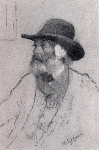 Portrait Of Thomas Carlyle, Seated, Half­Length, Wearing A Hat by Walter Greaves