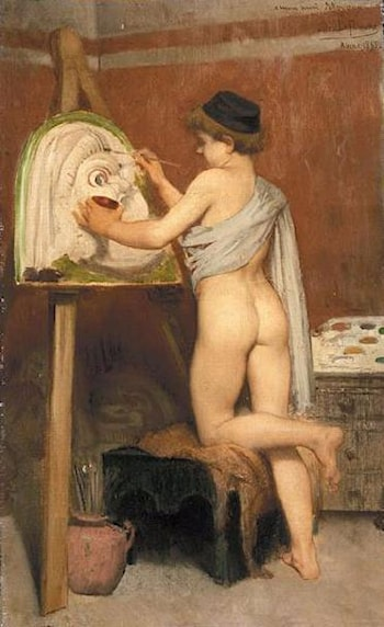 Young Painter of Greek Masks by Jules Joseph Lefebvre