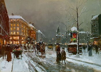 Place de Clichy in Winter by Edouard Leon Cortes