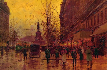 Le Place de la Republique, Paris by Edouard Leon Cortes