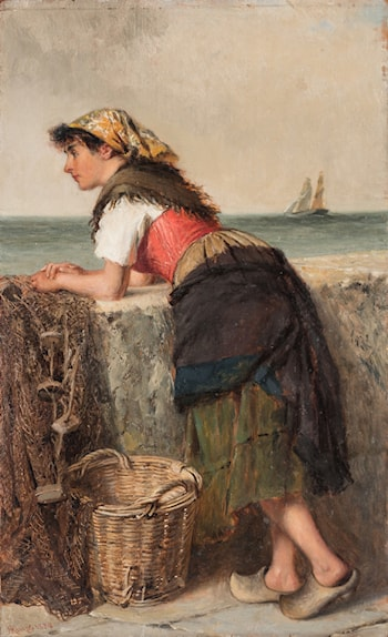 Fisherwoman at Wall by Haynes King