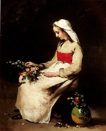A Girl Arranging A Vase Of Flowers by Theodule Augustine Ribot