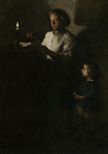 Reading by Candlelight by Theodule Augustine Ribot