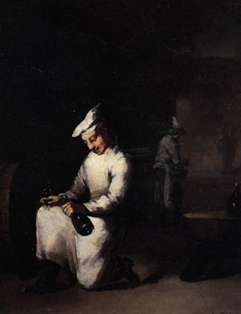 Drinking a Glass of Wine in the Cellar by Theodule Augustine Ribot